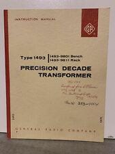 Orignal General Radio Precision Decade Transformer Type 1493 Instruction Manual