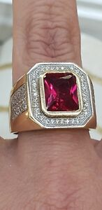 5 Carat big Mans 14k solid yellow Gold man made red ruby diamond  Ring S 10