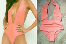 NEW Forever 21 salmon pink / coral deep plunge textured swimsuit UK 6