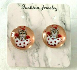 """1 pair of 18 mm wide"""" cute cat"""" large button style earrings"""