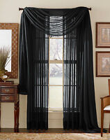 Solid Black Voile Sheer Window Curtain/Drape/Panels/Treatment