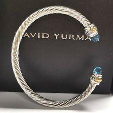 David Yurman Blue Topaz Cable Cuff Sterling Silver Bracelet 585 14K gold 5mm