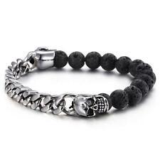 Fashion Men's Skull Stainless Steel Natural Lava Bracelet Curb Chain Bangle