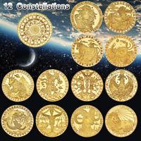 WR 12pcs 12 Constellations Zodiac Gold Commemorative Coin Creative Souvenir Gift