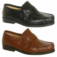 Mens New Brown / Black Leather Slip On Moccasin Shoes Size 6 7 8 9 10 11 12