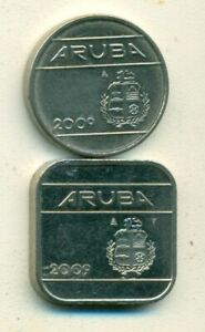2 DIFFERENT COINS from ARUBA - 25 & 50 CENTS (BOTH DATING 2009)