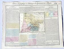 Dépt 40 - Rare Carte Géographique & Statistique des Landes Aquarellée de 1826