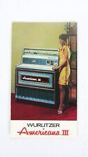 NOS Original Wurlitzer Americana III Advertising Card