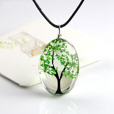Natural Real Dried Flower Resin Oval Shape Glass Locket Pendant Necklace