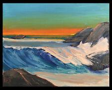 "ON SHORE BREAKER Original Expression Art Seascape Oil Painting 11x14"" 051920 KEN"