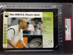 PSA 10 GEM MINT   The 1999 U.S. Tennis Open/Agassi     Grolier Card #132-8