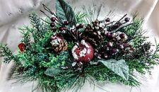 """NWT 19""""W Holiday Winter Candle Ring-Greenery, Cones, Apples, Berries (no candle)"""