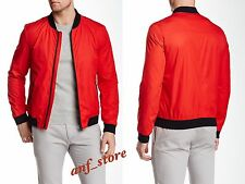 NWT HUGO BOSS Bervi Bomber Moto RED Mens Jacket M MEDIUM $395 Water Repellant