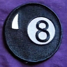 8-BALL PATCH ROUND EMBROIDERED PATCH BILLIARDS POOL THE HUSTLER SEW/IRON ON