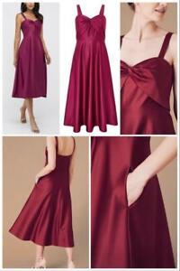 Monsoon - Savannah Twist Neck Satin Midi Dress-Pink-Size 12 (Brand New With Tag)