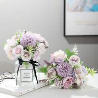 7 Heads Hydrangea Flowers Artificial Bouquet Silk Fake Peony Rose Wedding Home