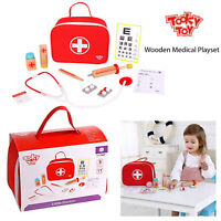 Tooky Toy Kids Wooden Doctors Role Play Set Childrens Medic Nurse Bag Toy Game