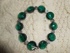 Emerald Glass Bracelet Irish Celtic Knot
