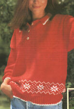 Womens Sweater Jumper With Collar + Button Neck DK Knitting Pattern 32-38 inch