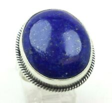 Silver 925 Ring 14g Sz.7.5 Lol520 Oval Blue Lapis Gem Braided Sterling