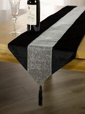 Panache Eclat Diamante Tassell Table Runner 13x72 Inch 100 Polyester Black