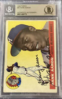 HANK AARON SIGNED 1955 TOPPS #47 -2ND YEAR BRAVES HOF🔥SGC & BECKETT AUTHENTIC🔥