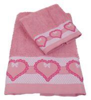 686328a5de Set di 1 asciugamano viso ed 1 ospite spugna cotone Carlucci Cuore rosa