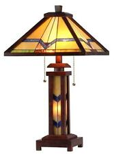 "Stained Glass Chloe Lighting Mission 3 Light Double Lit Wood Table Lamp 15"" Wide"