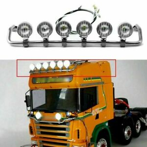 Metal LED Spotlight Top Roof Light Bar for TAMIYA Scania 1:14 RC Tractor Truck