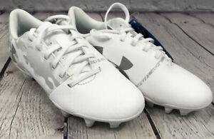 NEW Under Armour Spotlight DL FG JR Soccer Cleat Shoes Color White Grey Size 2.5