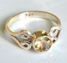 Sterling Silver Traditional Asian Vintage Style Golden Topaz Ring Size M1/2 Gift