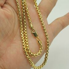 SOLID BOX LINK CHAIN IN 14K YELLOW GOLD 13.99 GRS 21.5'INCH