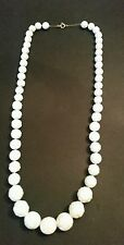 Vintage White Textured Bead Necklace Costume Jewelry