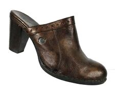 Born Womens Mule Shoes Size 10 M High Heel Brown Bronze Leather Slip On Shoe