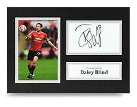 Daley Blind Signed A4 Photo Man Utd Autograph Display Memorabilia COA