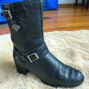 Harley Davidson Leather Boots Size 8.5 Women's SERITA Biker Zip Up Black
