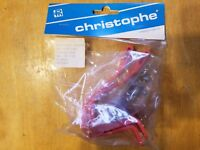 NOS Christophe France Road Bike Pedal Toe Clips - Small - Plastic Resin Red