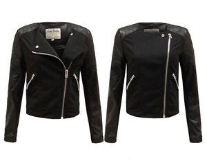 New Ladies Women Side Zipped Faux Leather PU PVC Crop Black Biker Jacket 8-14