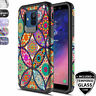 For [Samsung Galaxy A6 2018] Rubber Patterned Phone Case+Black Tempered Glass