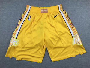 New Adult Size Yellow Color Los Angeles Lakers Shorts City Edition S M L XL XXL