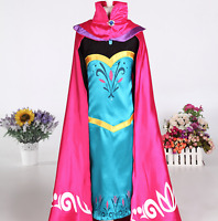 Girls Frozen Elsa Coronation Snow Queen Princess Costume Party Dress and Cape