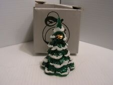 Fenton 4 inch Green Christmas Tree with Snow and Gold Cat  #8278 With box