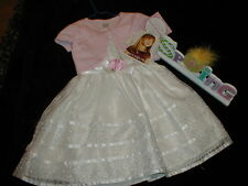NWT EASTER DRESS 2 pc White w/ Pink Shoulder cover size 4 NEW Spring