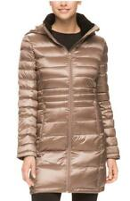 Andrew Marc Packable Long Hooded Premium Down Coat Jacket, Taupe, Size XS, NWT