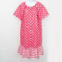 Vintage Lindsay Jordan Polka Dot House Coat Pink Dress Womens Medium M 0201X