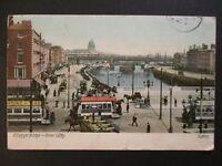 1905 OConnel Bridge River Liffey Dublin Ireland Real Picture Postcard Cover
