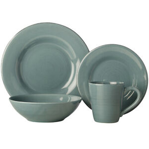 16pc Casa Domani Portofino Ironstone Bowl/Mug/Side/Dinner Plate Dining Set Blue