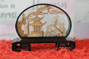 Beautiful Vintage Chinese Sculpted Cork Diorama  - 20cm Wide, 15.5cm Tall