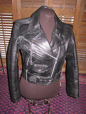 UNIK Vintage Heavy Black Leather Cropped Motorcycle Jacket Women's Medium