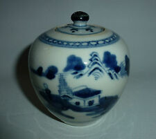 Chinese 19thC Blue & White Porcelain Small Lidded Jug Fishing Lancscape